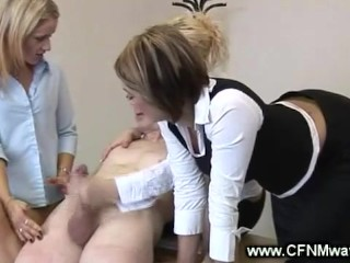 Office slut on his hard cock whille lying on the table