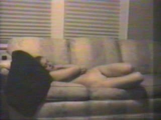 Gwen masturbates to and intense orgasm on couch!