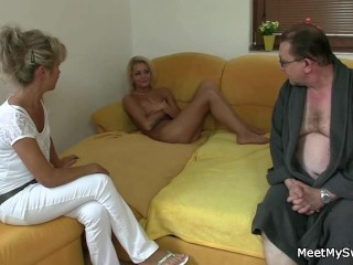 GF sucks and rides her BF's old dad cock