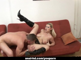 Blonde whore licks his shaft and gets fucked real hard