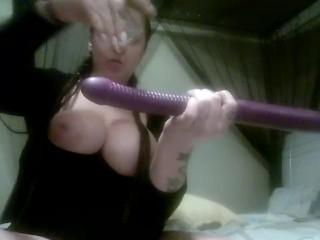 Girl cums all over her dildo tattooed thick white girl