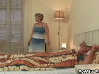 Cock hungry granny fucks her stepson in law