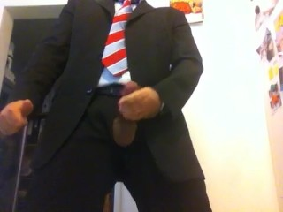 Me cumming in suit and tie, explosive cum shots