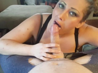 Sexy slut gives crotchless pants wearing guy a very wet BJ; gets facialized