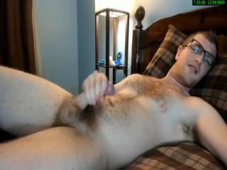 handsome hairy sexy guy jerking off, big load