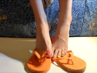 Oiled Feet Tease with Mesmerizing Multi-Coloured Long Toes