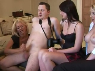 Curious clothed ladies jerking cock