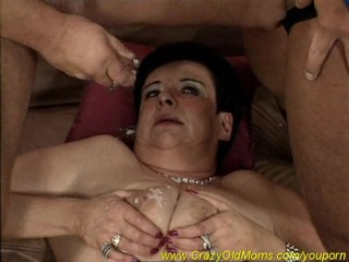 crazy mom has fun with two cocks