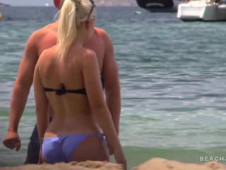 sexy blonde babe topless on the beach