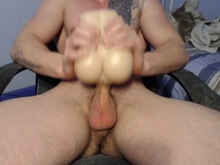 straight muscle stud fucks his fake pussy and cums