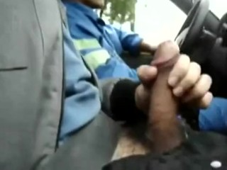Stroking in front of cab driver