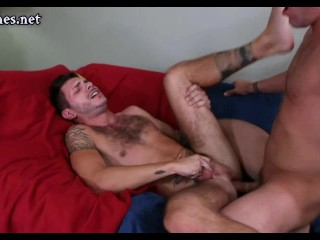 Gay pleasuring a cock with his ass