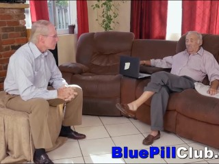 Kinky Tight Bodied Teen Sucks & Fucks Two Very Old Men