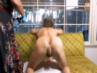 Blond woman huge tits stretches GapeGatsby's asshole with a glass plug