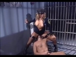 Blonde in a uniform boots and fishnet stockings fucking