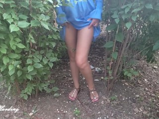 Alice in a short blue dress flashing her pussy outdoors and on the bus upskirt