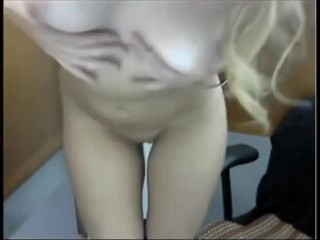 Blonde Naked in Library