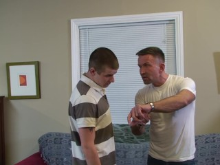 Fetish muscle DILF gives his stepson a good spanking
